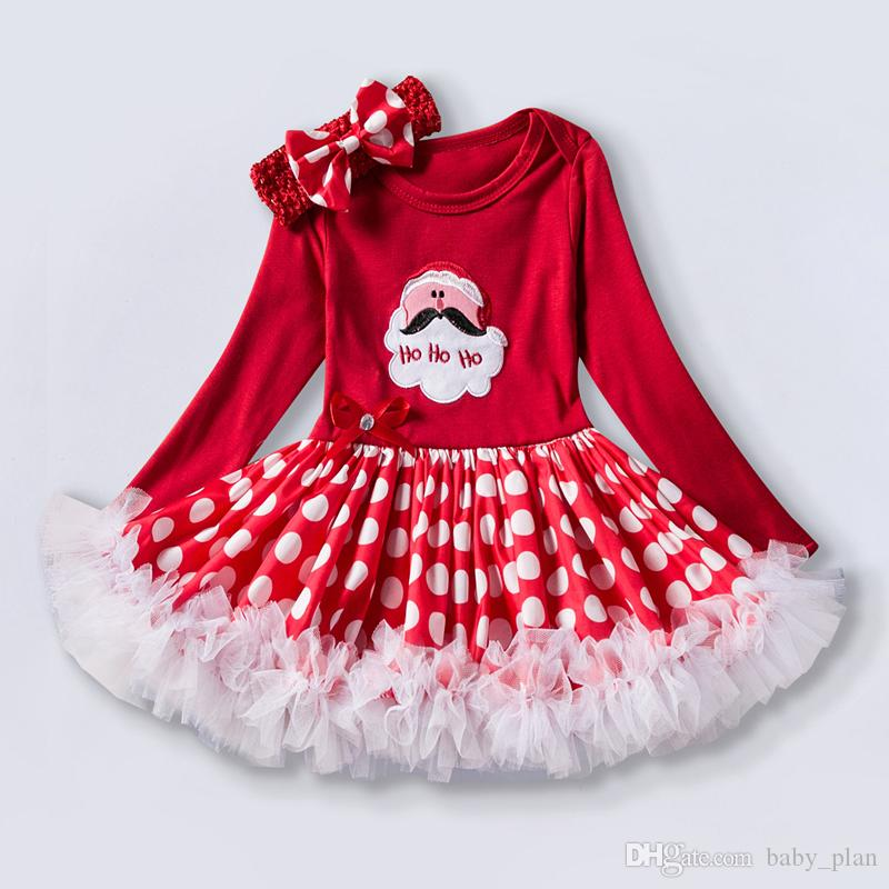 0-2Year Newborn Girl Christmas Bow Lace Dresses Santa Cartoon Tutu Dress For Baby Girl Winter New Year Party Gown Costume vestido infantil