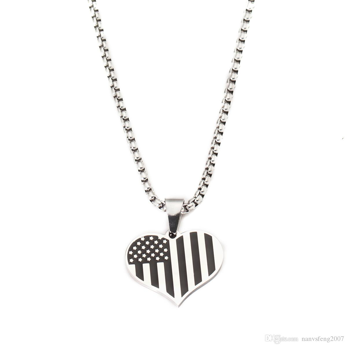 Stainless Steel American Flag USA Patriot Stars and Stripes Heart Pendant Necklace