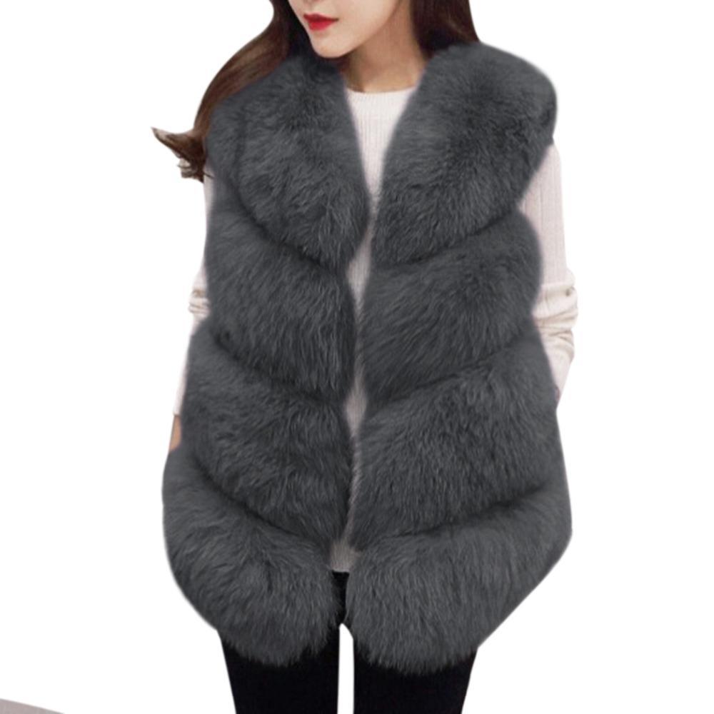 2017 Escudo calientes de las mujeres chaleco de piel gruesa mullido caliente mujer de piel falsa chaleco de la capa chaquetas O-Cuello Manteau Fourrure Femme 3XL tamaño extra grande