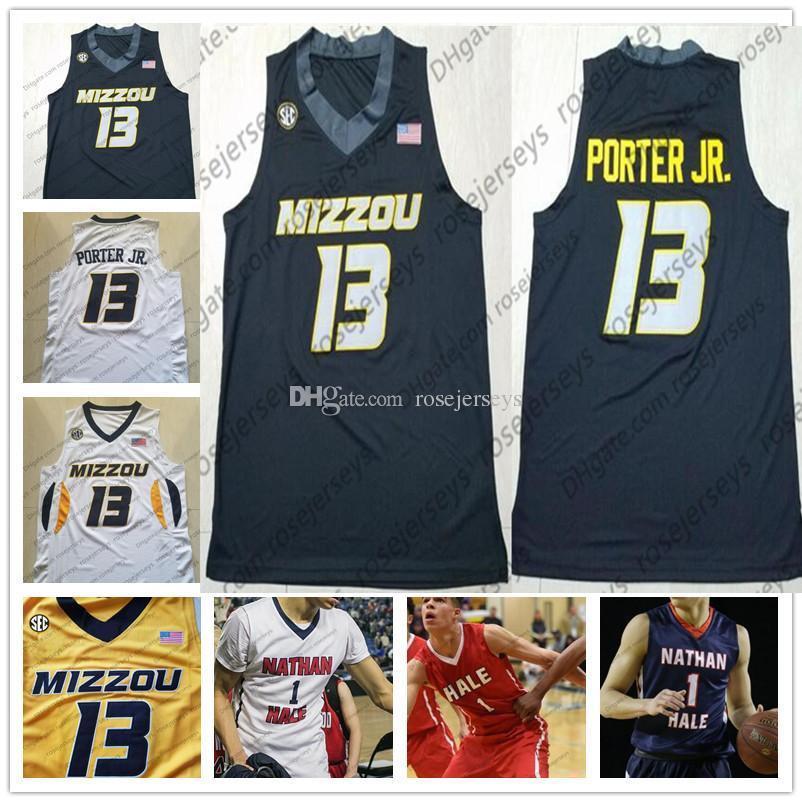 NCAA Mizzou Missouri Tigers # 13 Michael Porter Jr. nero bianco giallo College Basketball # 1 Nathan Hale High School blu scuro maglie S-4XL