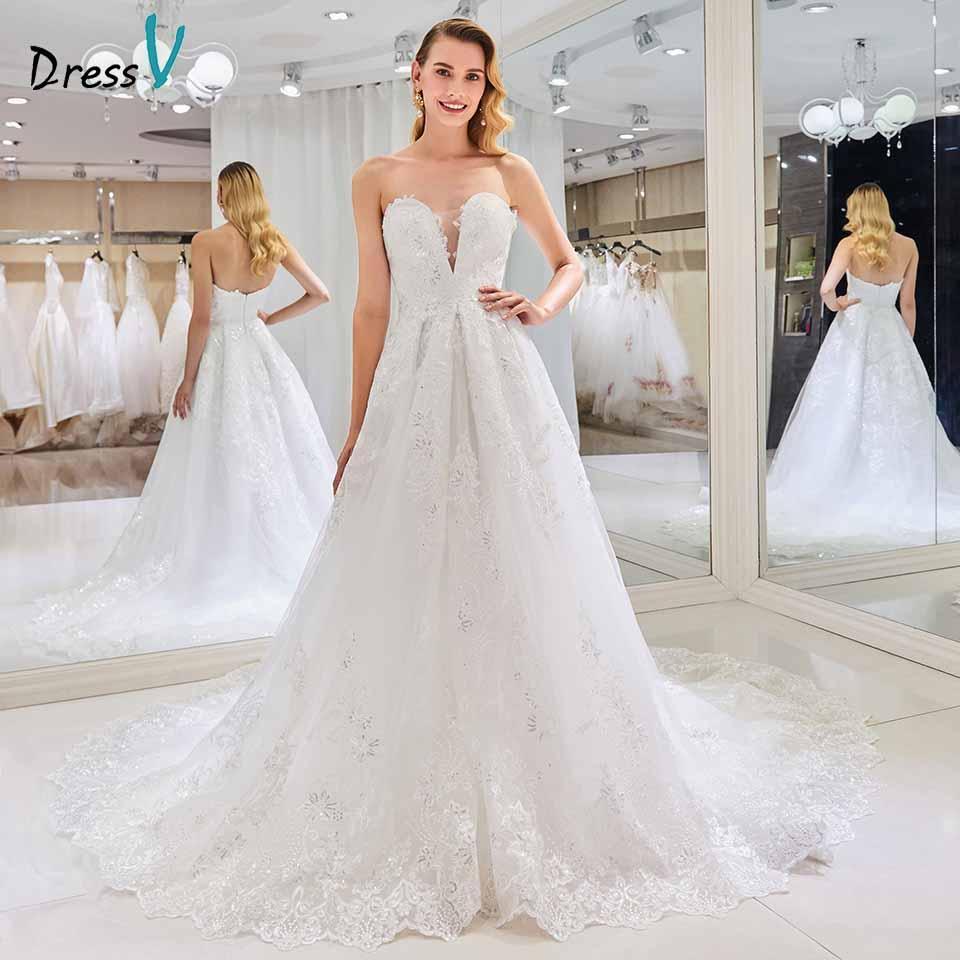 Großhandel Großhandel Trägerloses Hochzeitskleid Eine Linie Applikationen  Ärmelloses Rückenfreies Perlen Bodenlangen Brautkleid Brautkleider Von