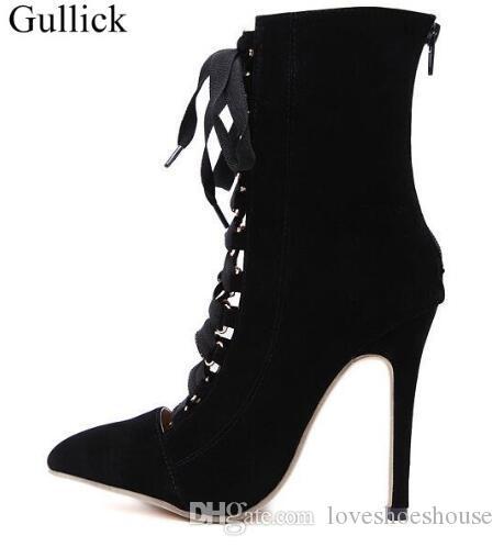Las mujeres atan para arriba la bota del tobillo Sandalias de los tacones altos 12cm Botas del dedo del pie puntiagudo Moda Rosa Negro Partido de noche de la señora vestido de noche zapatos