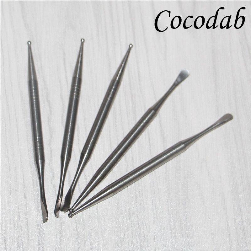 Utensili in titanio di alta qualità Gr2 Titanium Dabber lunghezza 110 mm con punta a sfera e doccetta punta cucchiaio