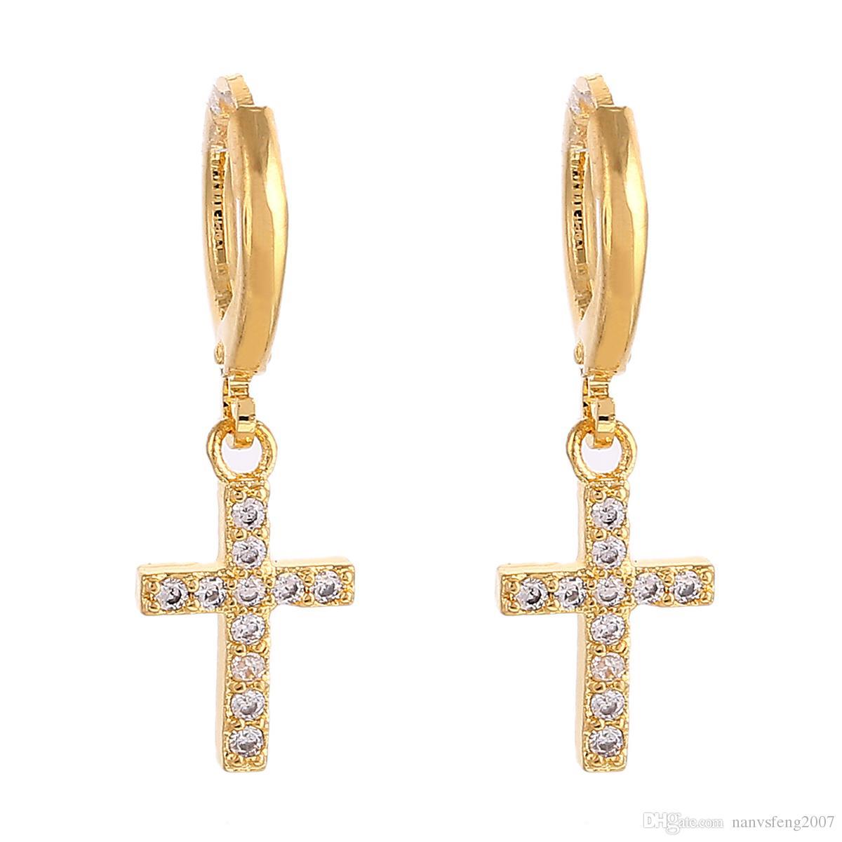الصليب استرخى أقراط الدينية يسوع ستون أقراط مجوهرات الصليب المسيحية