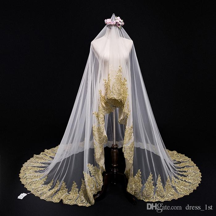Elegant Wedding Long Veils 3 Metres One Layer Gold Lace Appliqued White Ivory Champagne Tulle Bridal Veils
