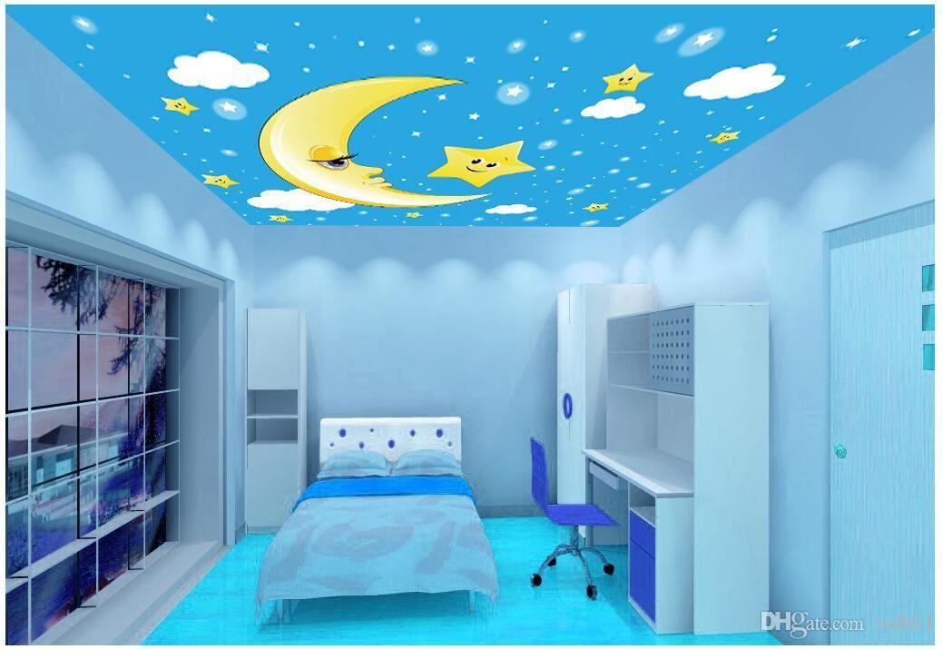 3d tavan duvar resimleri duvar kağıdı özel fotoğraf dokunmamış duvar Taze yıldız ve ay ışığı çocuk odası tavan dekoratif boyama