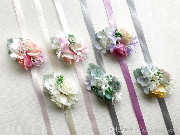 Groom Bridal Bridesmaid Wrist Corsage Wedding Flowers Forest Wedding Party Supplies Guest