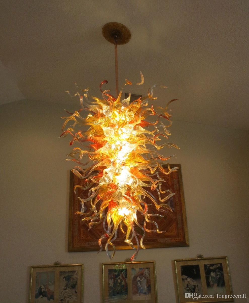 Lampy Brilliant Art Decor Ciepłe LED Lights Ręcznie Dmuchane Szklane Żyrandole Oświetlenie Nowoczesny Duży Kryształowy Żyrandol Do Salonu