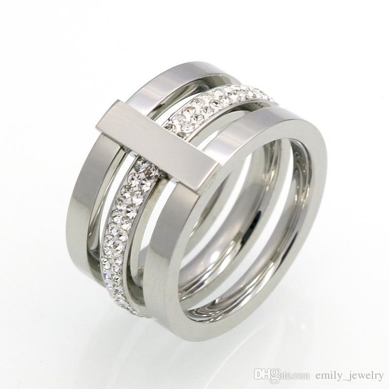 2017 marchio di gioielli in acciaio al titanio 316L all'ingrosso 3 strati con anelli di diamanti per gioielli da donna con fedi nuziali in oro 18k / argento / rosa