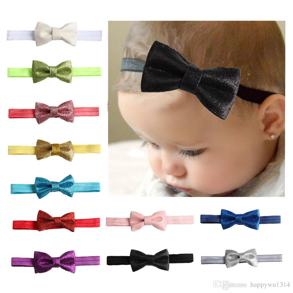 Infants Trendy Hair Accessories Girls Boutique Hair Shiny Bows Hairbands Baby Headbands Toddler Elastic Headress New 12 color
