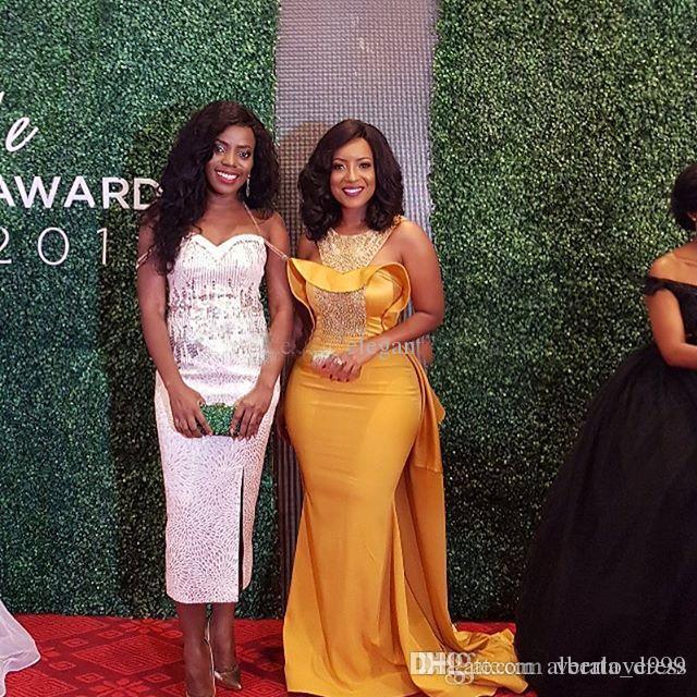 Vestidos de noche de sirena a medida Escote redondo con cuentas de cristal Premios Glitz Celebrity Dresses Mujeres africanas Vestidos de noche formales