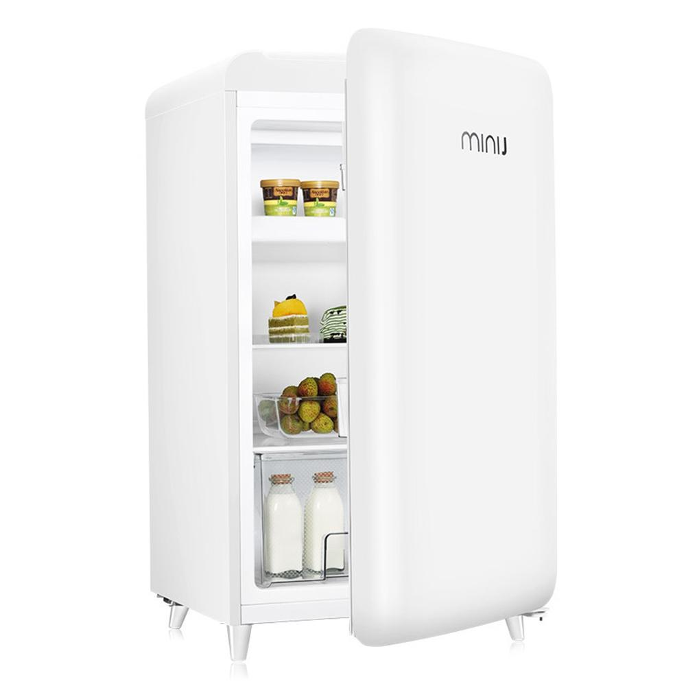121L Mini Retro Refrigerator Freezer Fresh Food Storage Uni-body Fridge Icemaker Mini Fridge Gadget Cooler Refrigerator Free Shipping TTB