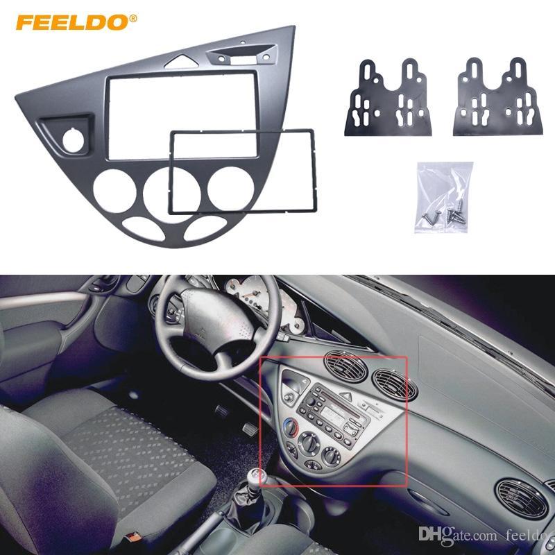 FEELDO رمادي سيارة 2DIN ستيريو لوحة لفافة راديو إعادة تجهيز داش تريم عدة للحصول على فورد فوكس 98 ~ 04 (دكتوراه في العلوم الإنسانية) / العيد 95 ~ 01 (دكتوراه في العلوم الإنسانية) # 5054
