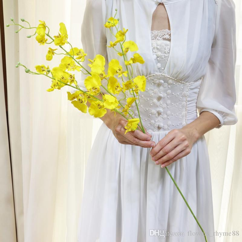 шелковые цветы Искусственные цветы танцы Леди орхидеи поддельные Oncidiums для дома свадьба украшения цветок настольные композиции фотографии