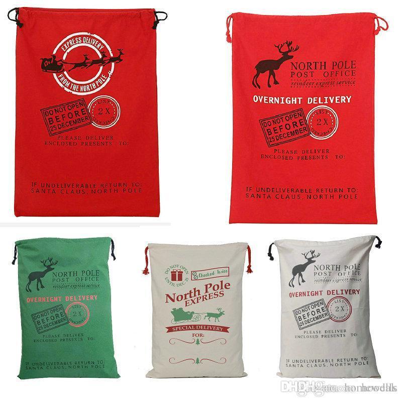 20PCS Christmas Gift Bag Large Organic Heavy Canvas Bag Santa Sack Drawstring Bag With Reindeers Santa Claus Sack Bags for Christmas