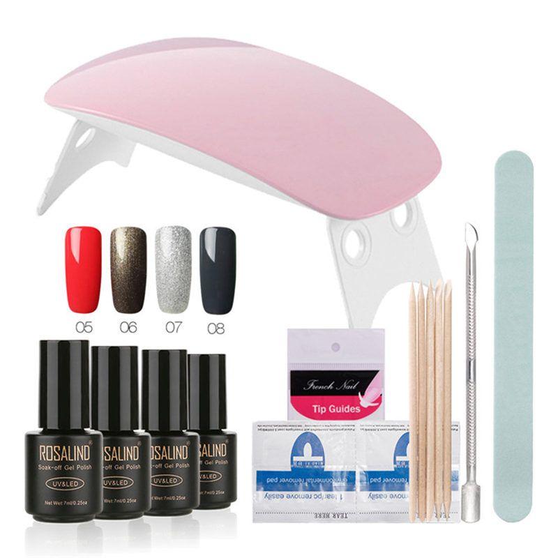 Großhandel 12 Teile / los SUNmini UV Lampe Beigner Praxis Nagelkunstwerkzeuge DIY Nagel Design UV Nagel Maniküre Kit Beliebig 4 Farben Gel In Set