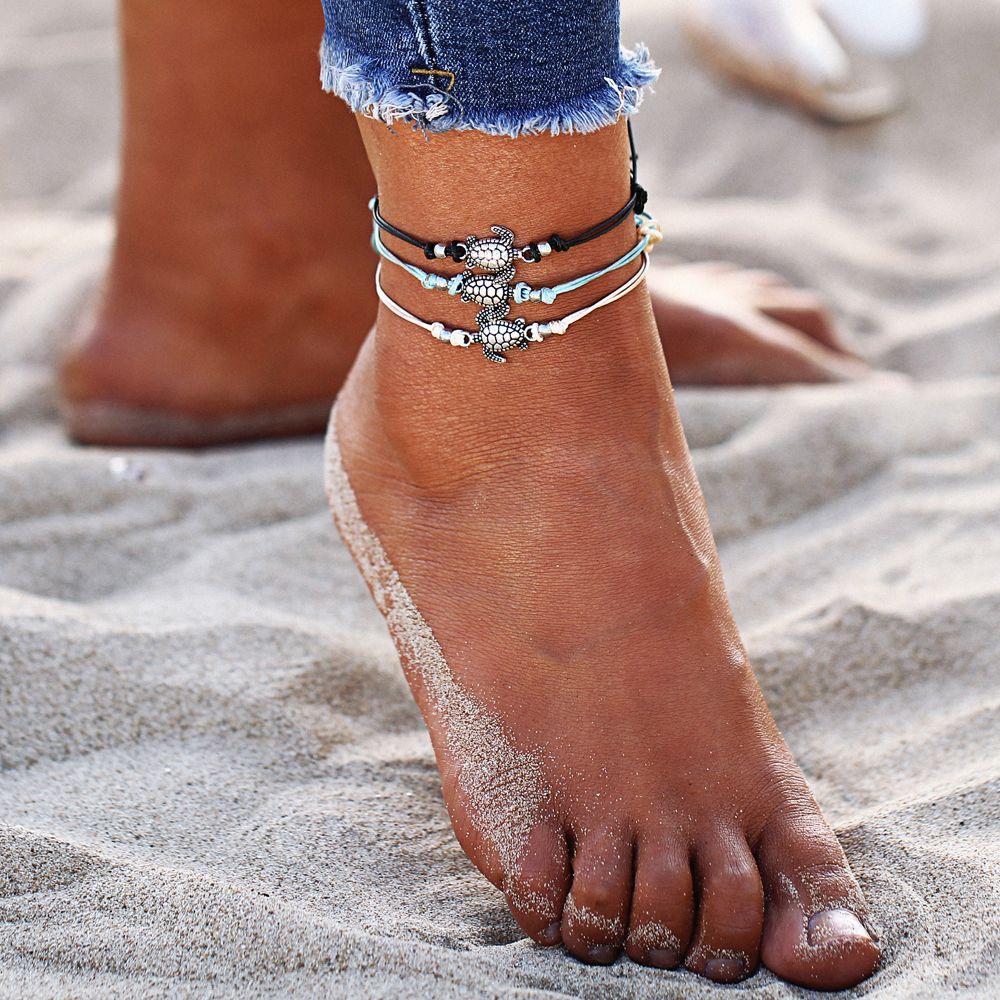 3 PC / sistema de Boho mano trenzada pulsera de tobillo del pie lindo joyería Cornudos Halhal para las mujeres Tobillera Beach joyería y accesorios