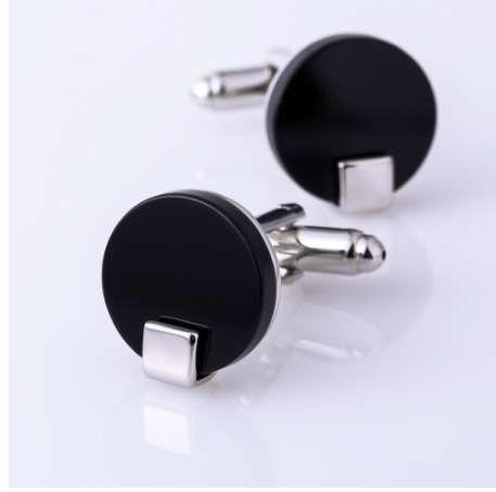 KFLK Jewelry mancuerna de la camisa para hombre Marca Negro gemelo botón Venta al por mayor botón de alta calidad redondo de lujo de la boda masculina envío gratis