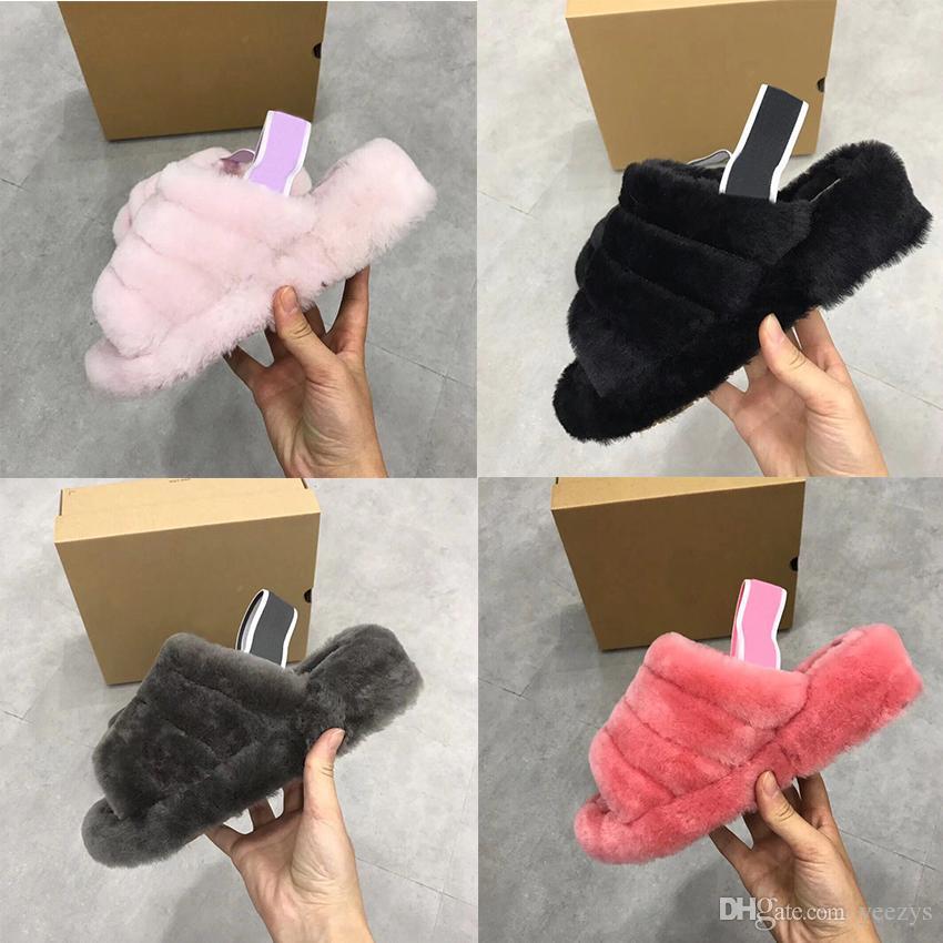 Sandalet Moda Kadın Ana kürk pantoufle Slaytlar terlik Gerçek Yün Kadınlar kürk Evet Pantoufle Kürklü Terlik Terlik Slaytlar flip flop Slide