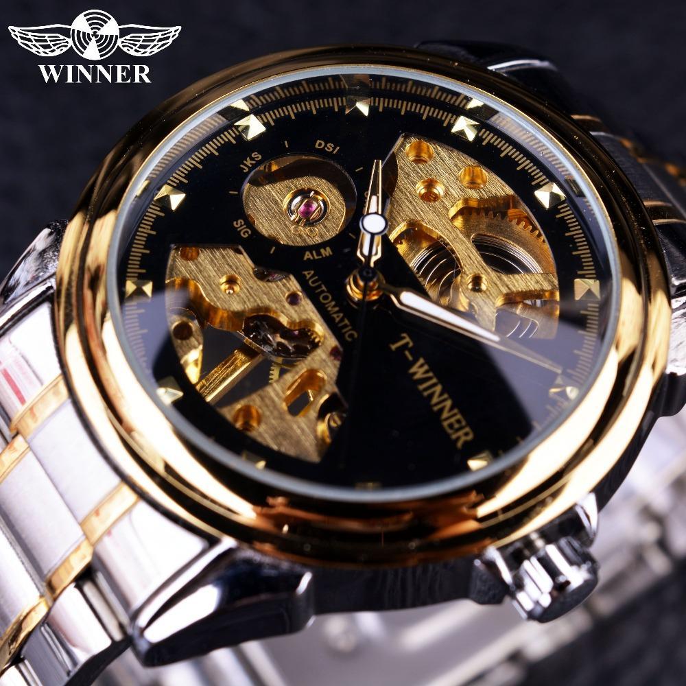 Ganador de diseño Relojes para hombres Reloj de lujo de primeras marcas Medio esqueleto Negro Dorado Moda casual Reloj mecánico ocasional