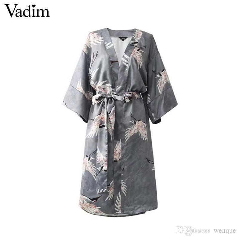 9a6468eaa743 Vadim vintage cross V neck floral wrap dress crane pattern bow tie sashes  kimono style loose vestidos mujer QZ3681