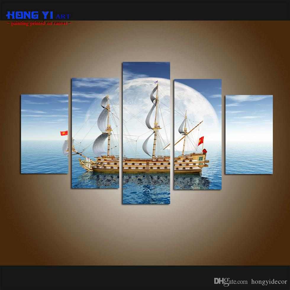 5 Panel Large Modern Giclee Print Art Old Sailing Ship Moon Light Seascape Printed Canvas Wall Art picture for living room Home Decor