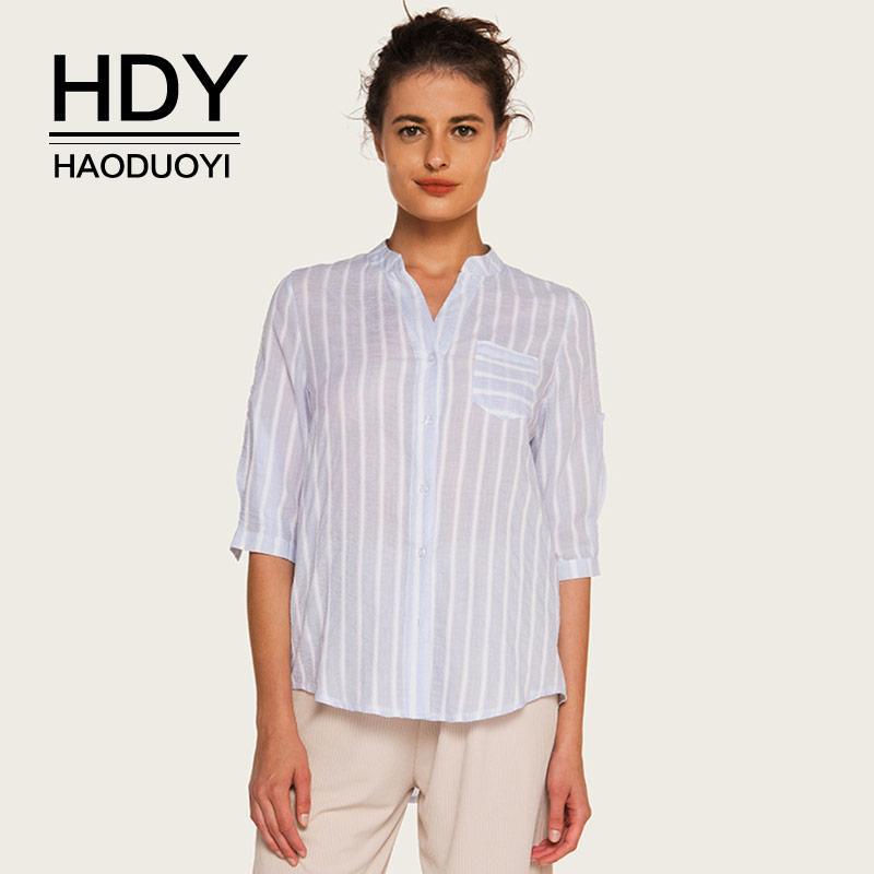 HDY Haoduoyi Azul Listrado Camisas Das Mulheres V pescoço Meia Manga Blusas com Bolsos Escritório senhoras Trabalho Blusa 2018 Verão Outono Tops