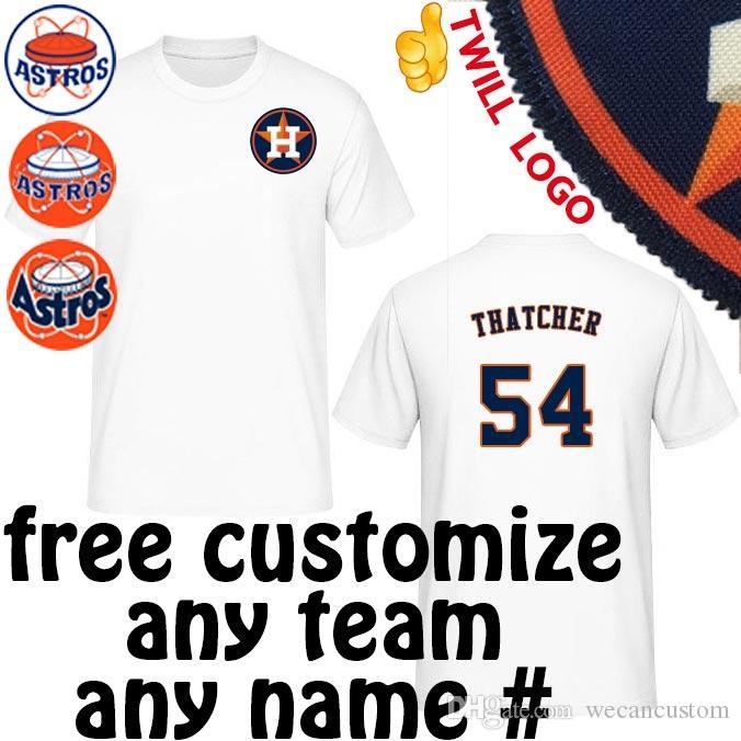 Astros Shirts >> 2019 Houston Astros Shirts Joe Thatcher David Martinez Travis Blackley Mark Melancon Tshirts Tees Sewn On Twill Astros Logo Jerseys T Shirt From