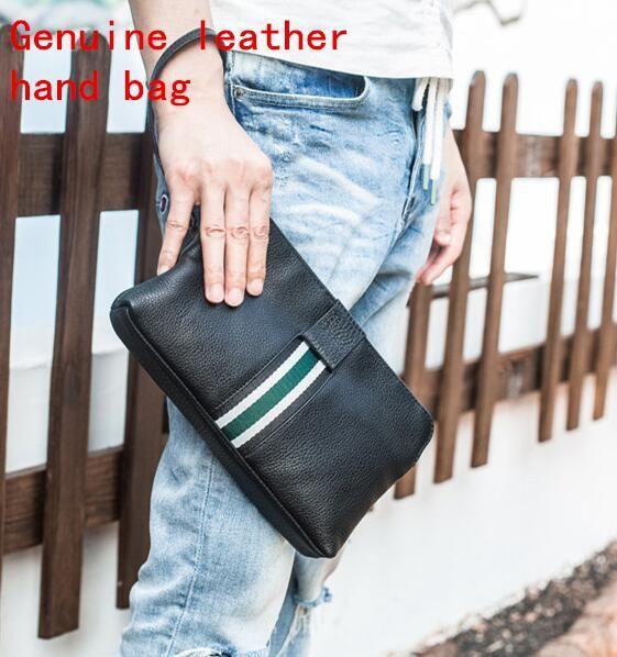 Borsa degli uomini di marca fabbrica borsa morbida testa di vacchetta moda borsa a mano Han edizione in pelle uomini borsa grande capacità in pelle di moda borsa raccoglitore