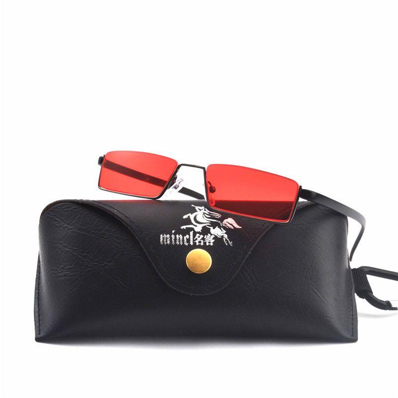 MINCL / occhiali da sole quadrati piccoli uomini vintage montatura in metallo 2018 nero giallo rosso lenti piccoli occhiali da sole per donna Punk occhiali da sole FML