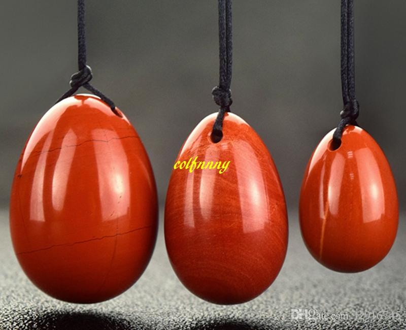 10sets/lot 3pcs Natural Red stone Yoni Egg Jade Eggs For Kegel Exercise Tighten Vaginal Muscle Ben Wa Massage Ball