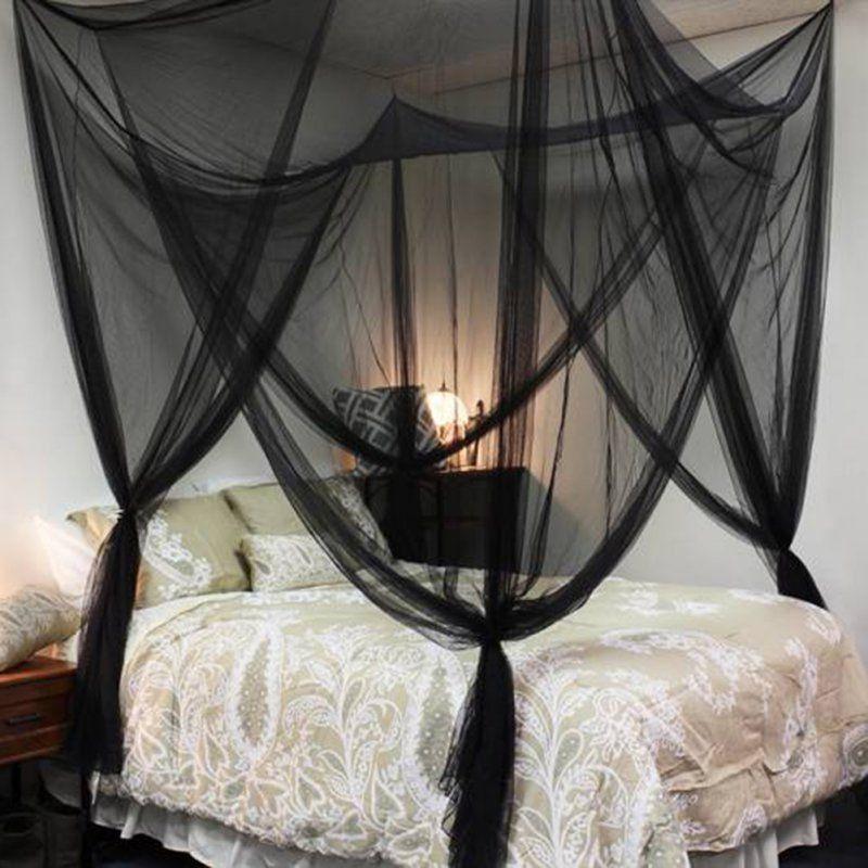 Blanco Negro 4 esquinas Princess Post Bed Tienda de campaña Pabellón de mosquitero Twin Full / Queen King Netting Ventas calientes Ventas al por mayor