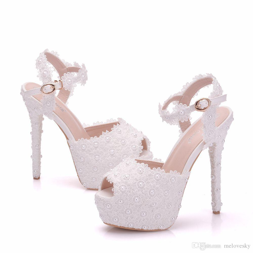 Womens Wedge Heel Lace Up Platform Shoes Ivory Lace with Pearls Bridal Wedding