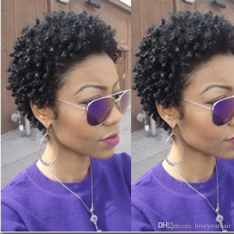 En kaliteli bayan brezilyalı Saç Afrika Ameri kısa kinky kıvırcık peruk Simülasyon İnsan Saç kısa kıvırmak peruk ücretsiz kargo
