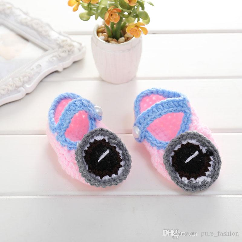 Cute Cartoon Crib Shoes Soft Warm Footwear Infant Baby Sock Boots Handmade Crochet Knit Booties Newbron Baby Boy Toddler 5pairs/10pcs