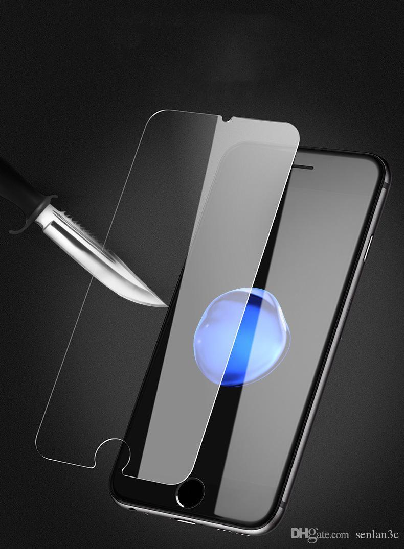 Pour iPhone X XS MAX XR 8 7 écran 6s PLus PlusTempered verre Film de protection 0.26mm 2.5D 9H avec le paquet de papier