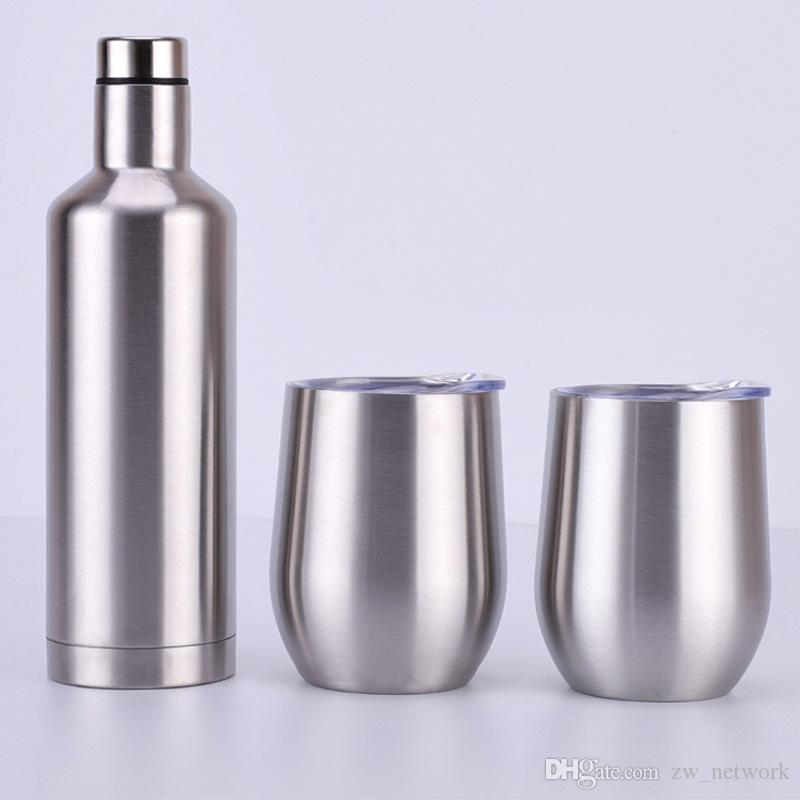 3pcs/set wine glasses set Gift package Stainless Steel red wine bottle with cups Outdoor Insulated Cooler wine glasses set 12oz double layer