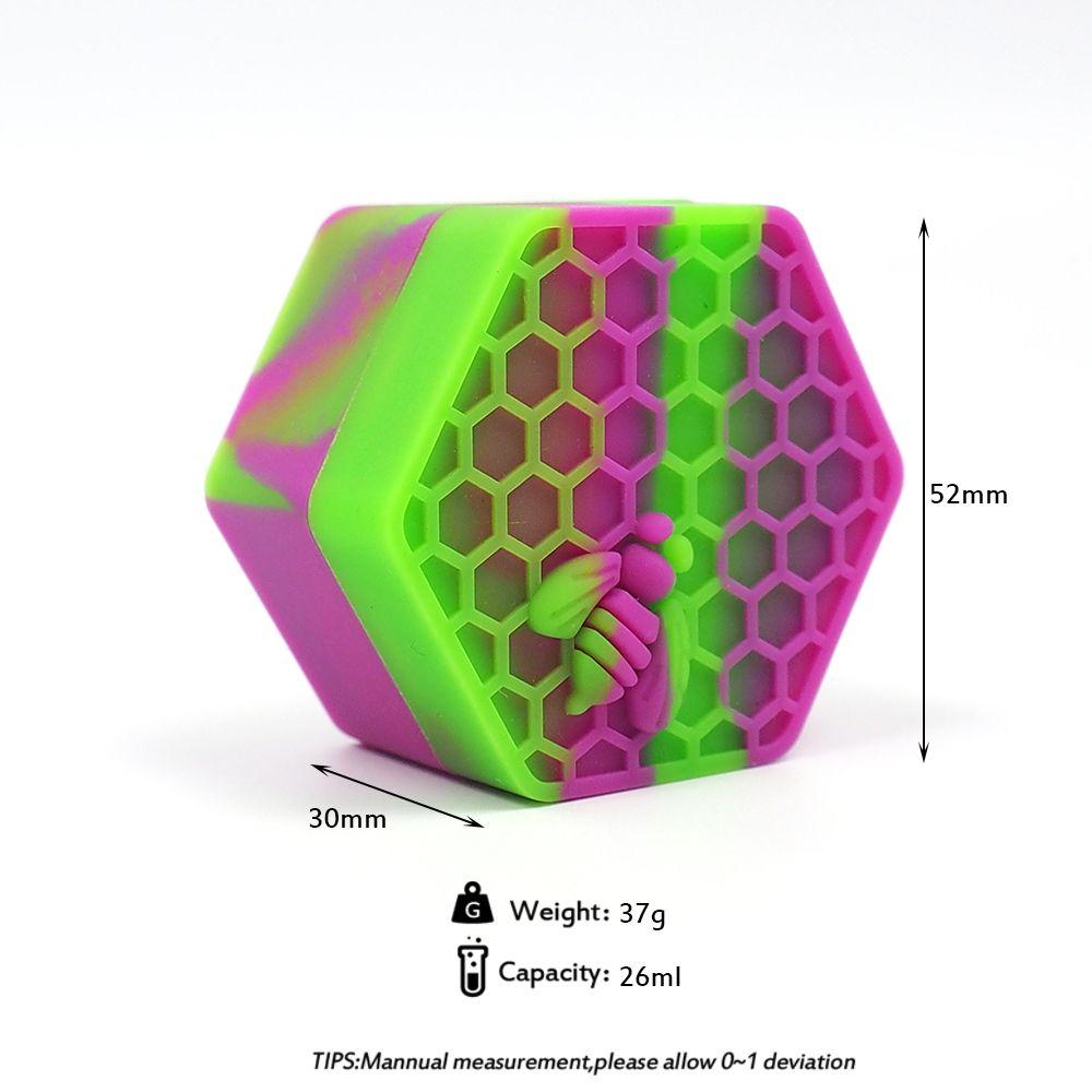 26ml hexagone abeille Qualité dab silicone Container Jars Container silicone pour le stockage de cire Jars