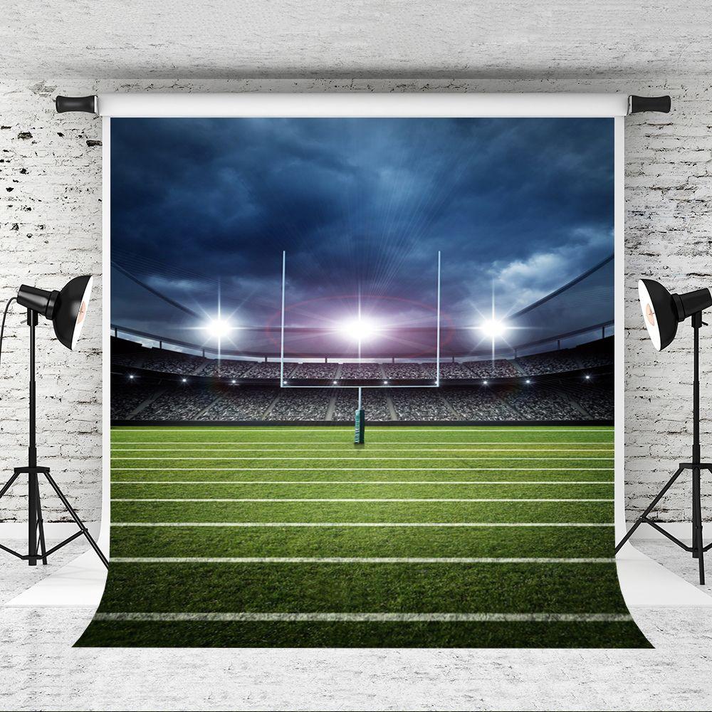 5x7ft Rêve Football américain Photographie Toile de fond Ciel bleu Glitter Light Photo Fond Terrain de football Tirer Studio Fond Prop