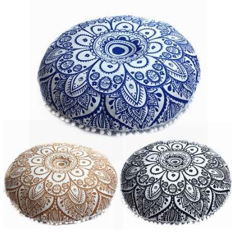 Indian Mandala Floor Coussin Couverture 70 cm ronde Taie d'oreiller