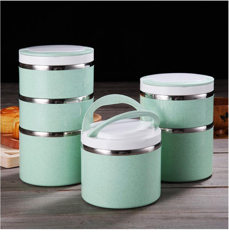 Insulated Thermal Bento Box Japanese Style 304 Stainless Steel Lunch Boxs Portable Food Container Whit Bag Dinnerware Sets 7