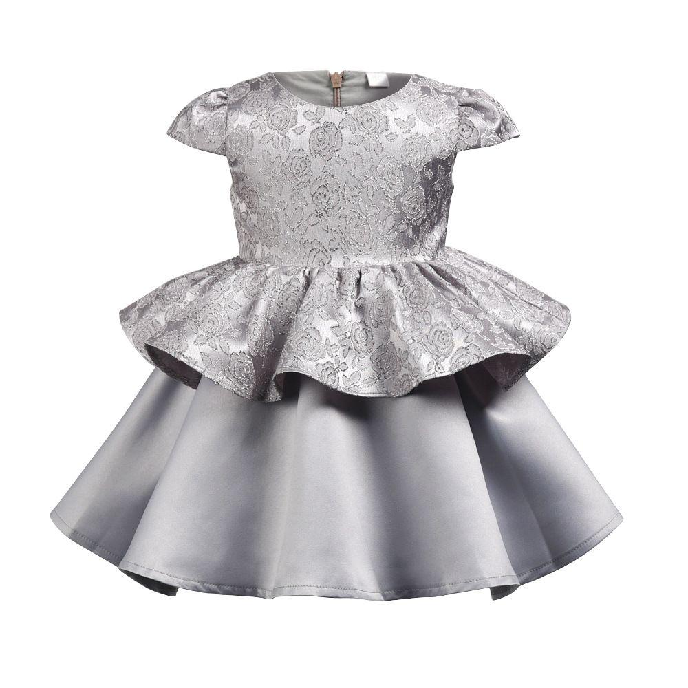 Charmante Kinder Baby Mädchen silbergrau Kleid ärmellos plissiert Partei Prinzessin Tutu Kleid mit 1pc Stirnband