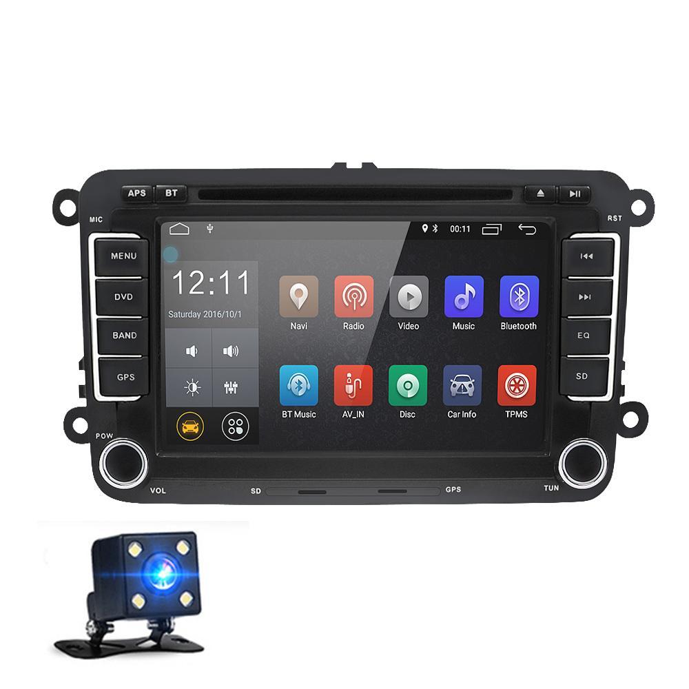 7 Polegada 2 Din Android 8.0 Carro DVD Player Multimídia Navegação GPS Rádio Estéreo para VW Volkswagen T5 Touran com Retrovisor Câmera Canbus