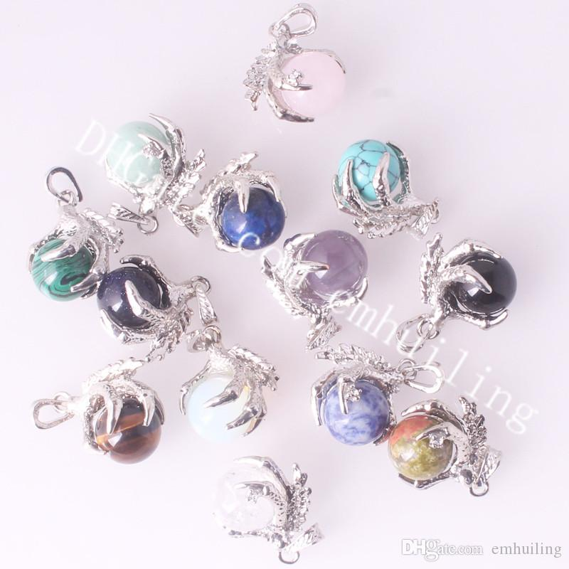 Silver Tone Dragon Claw Pendant Holding Semi Precious Stone Crystal Quartz Ball Pendant for Mens Gothic Power Healing Chakra Reiki Necklace