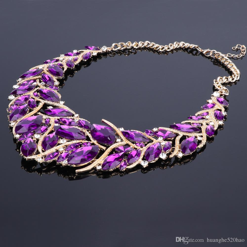 5af59cd58b15cc ... New Fashion Purple Rhinestones Crystal Statement Necklace Bridal  Jewelry Sets Decoration Necklaces Jewellery Gifts for Women ...