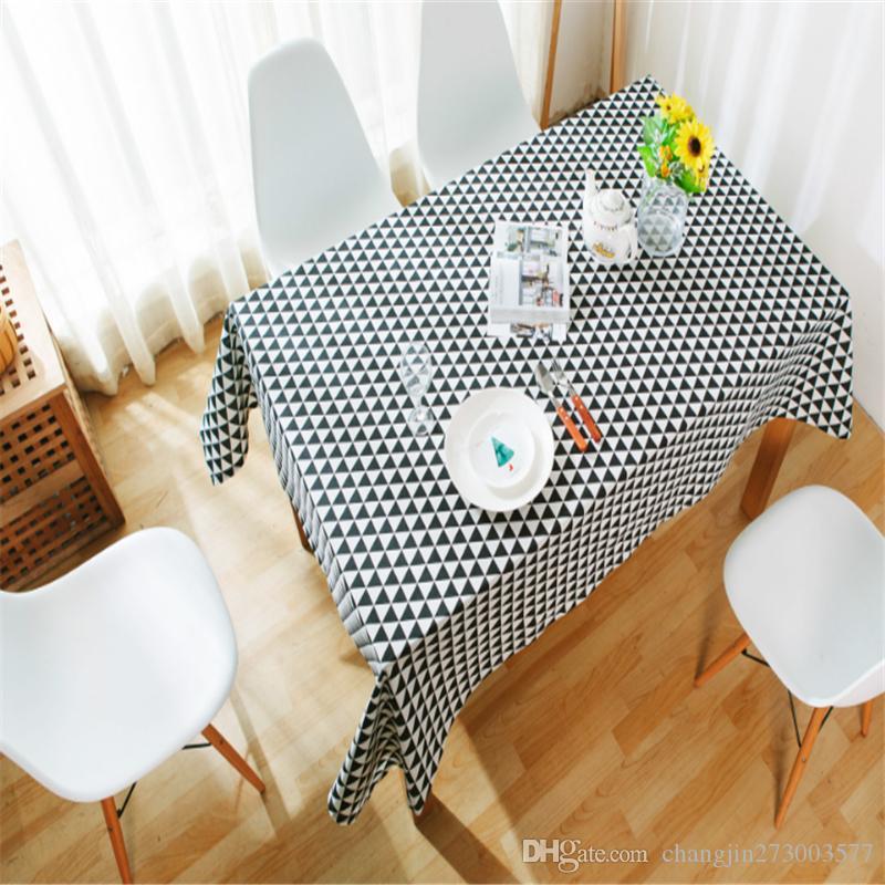 Masa Örtüsü Pamuk Keten Kırsal Kare Masa Örtüsü Dikdörtgen Sofra Kapak Masa Örtüsü Sehpa Ev Tekstil (siyah / gri)