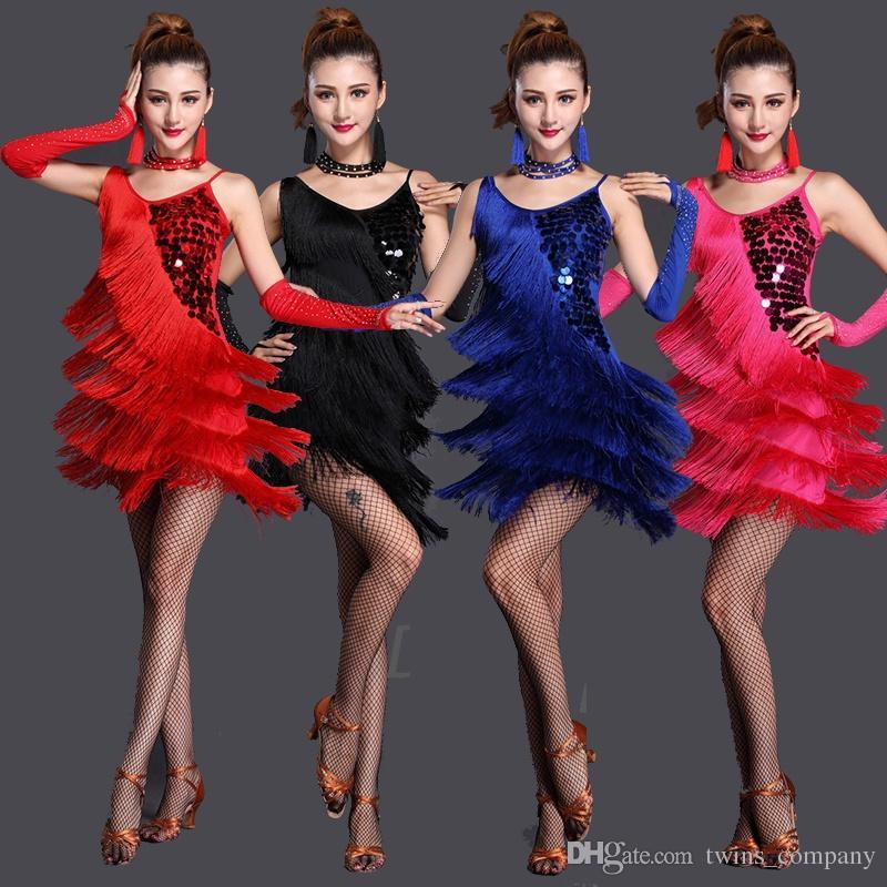 Performance Women Dance Clothes Embroid Costume 3pcs Set with Bracelets Ballroom Fringe Latin Dress Women Competition