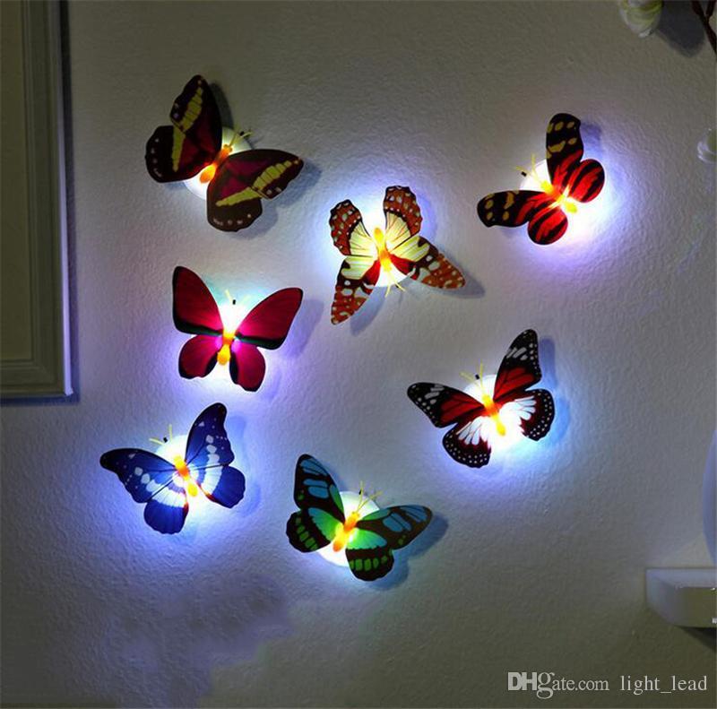 Bunte LED-Leuchten Wandsticker Einfache Installation Schmetterling Libelle LED-Nachtlicht für Kinder Baby-Schlafzimmer-Party Weihnachten LED-Lampe