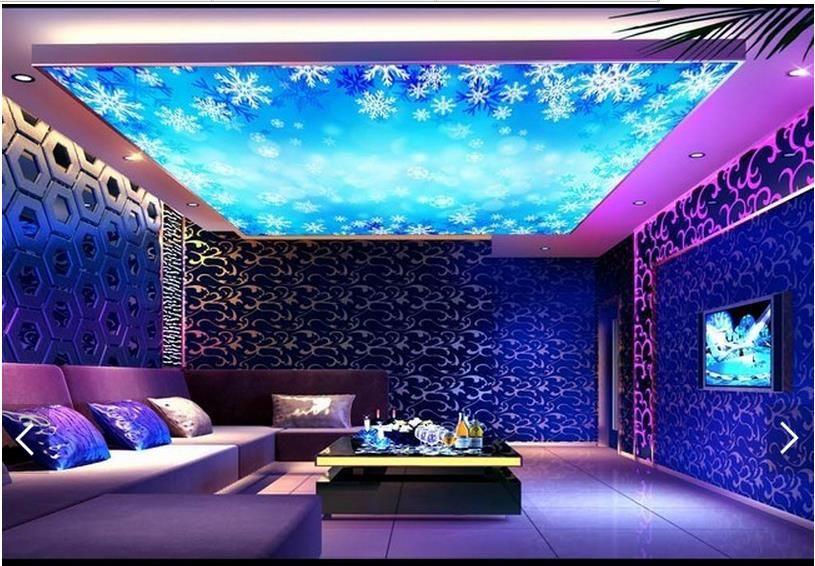 Papel pintado 3d personalizado foto techo mural papel pintado Deslumbrante decoración paisaje copo de nieve cenit mural Gran cielo estrellado fondo de pantalla
