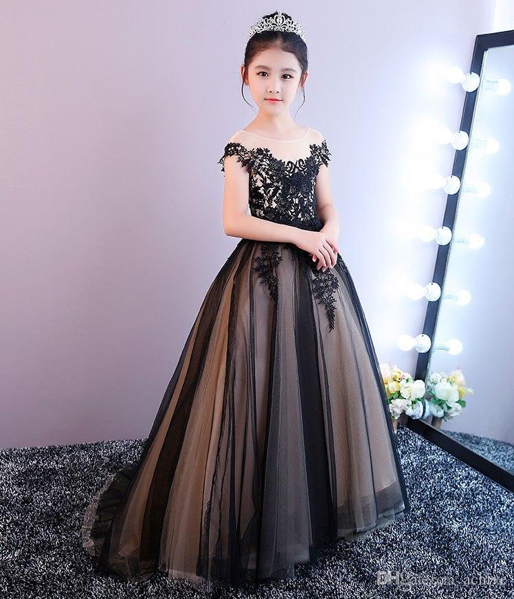 Şık Siyah Aplike Dantel Çiçek Kız Elbise 2020 Yüksek Kalite Custom Made Tül Çocuklar Prom Akşam Dressse Kız doğum günü partisi Abiye